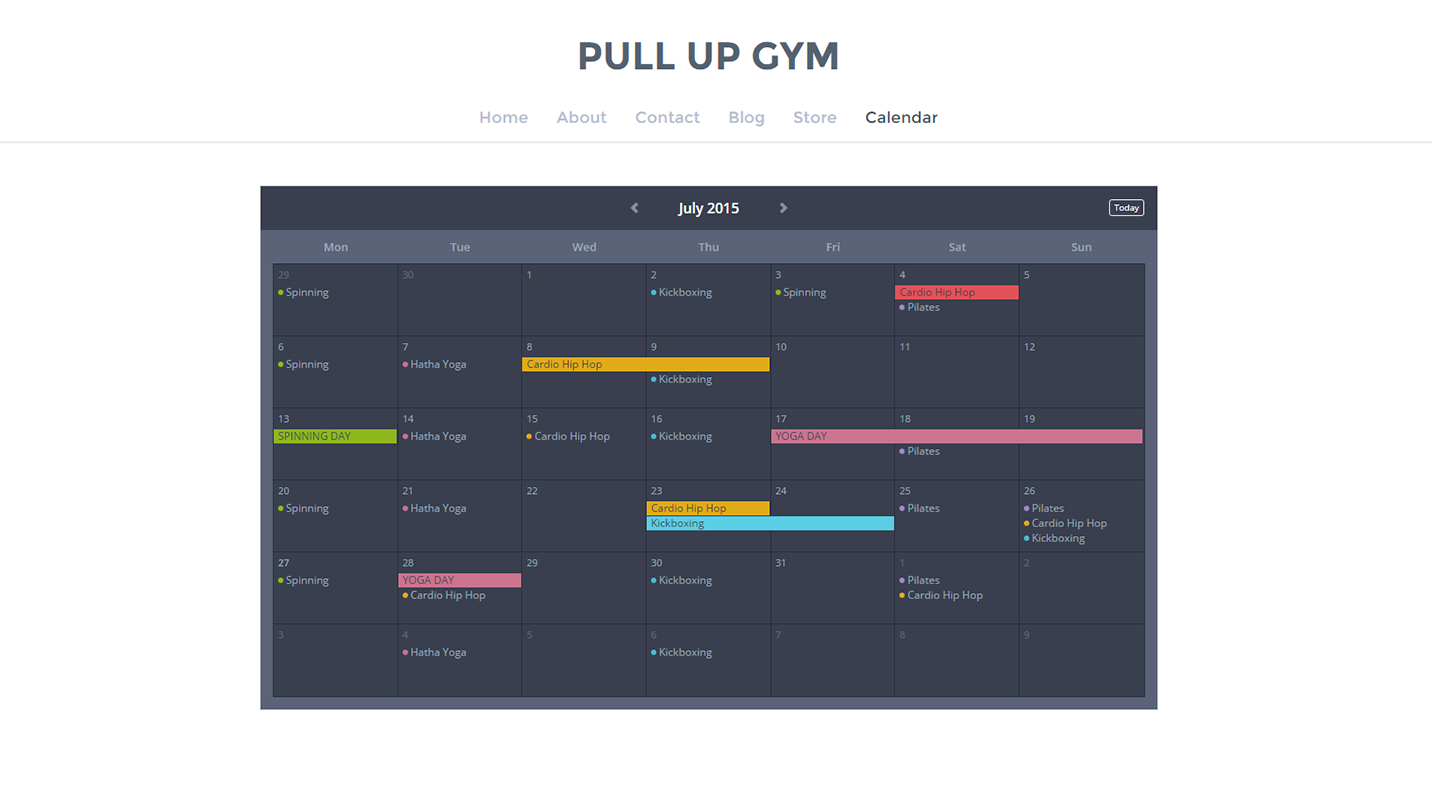 how to create a calendar in website