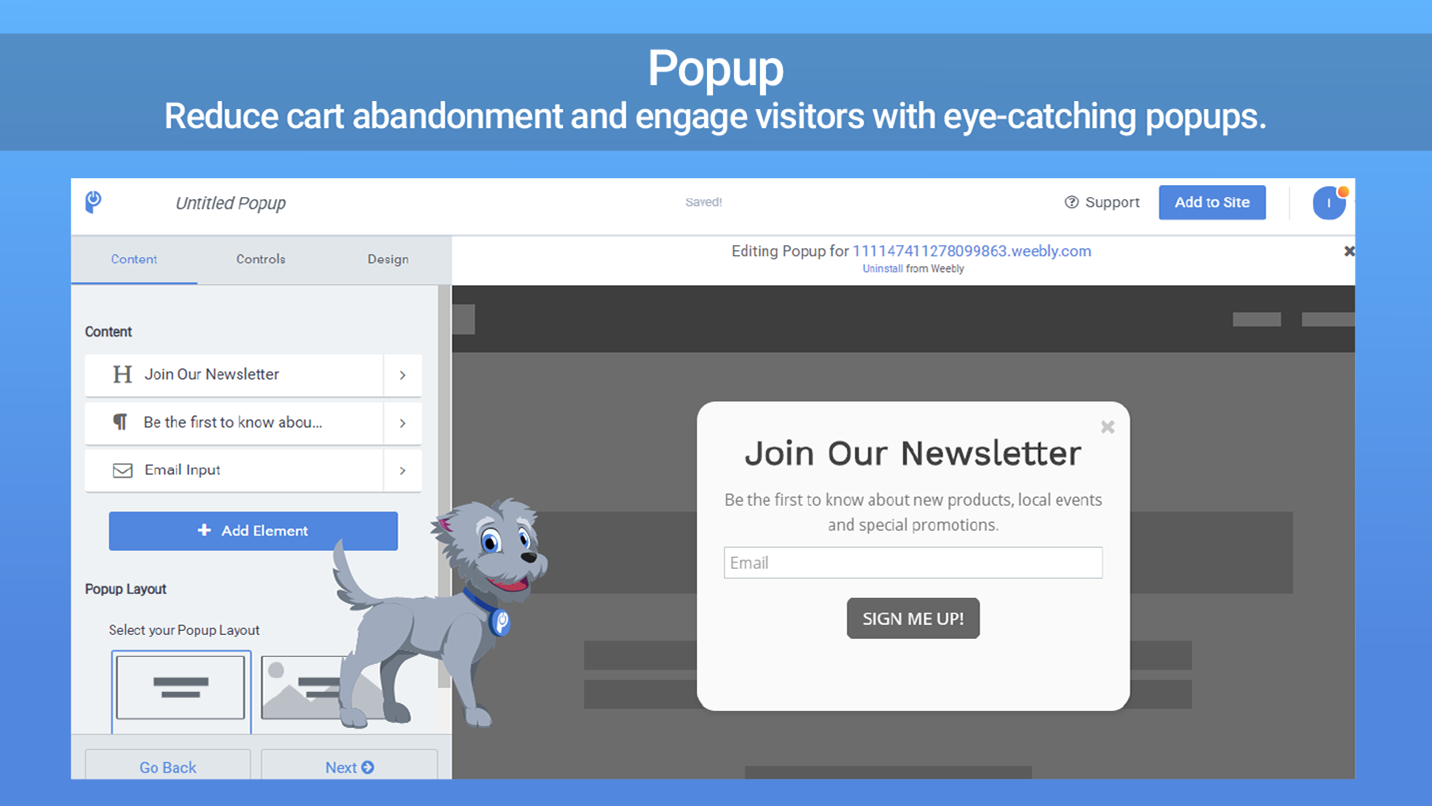 Popup - Easily offer promos & get more sign ups!