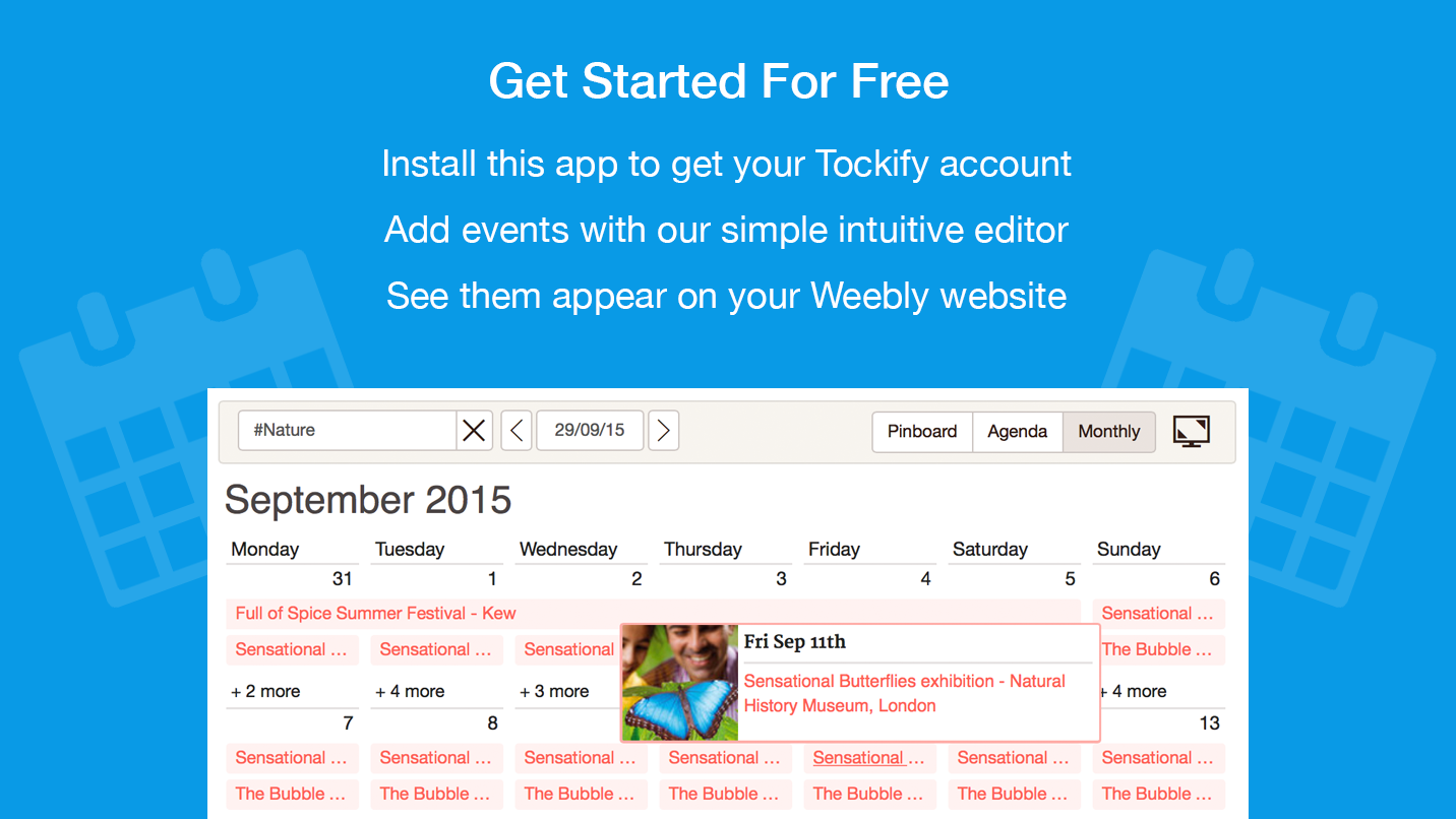 Calendar Website : Tockify calendar a modern attractive website