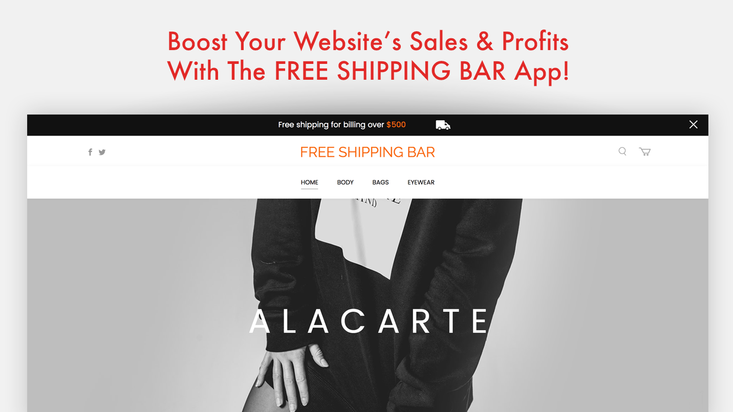 Free App Website free shipping bar - boost your website's sales & profits