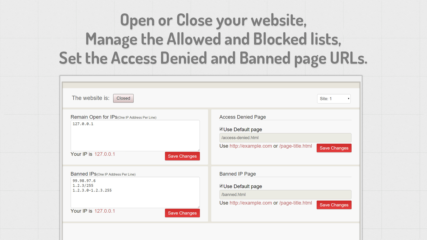 IP Approval - Restrict site access by IP or Location