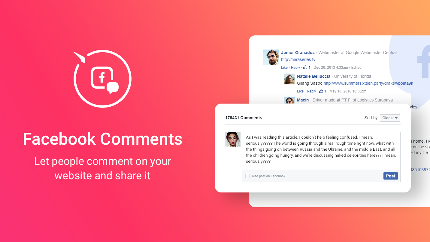 Facebook Comments - Post comments from your website