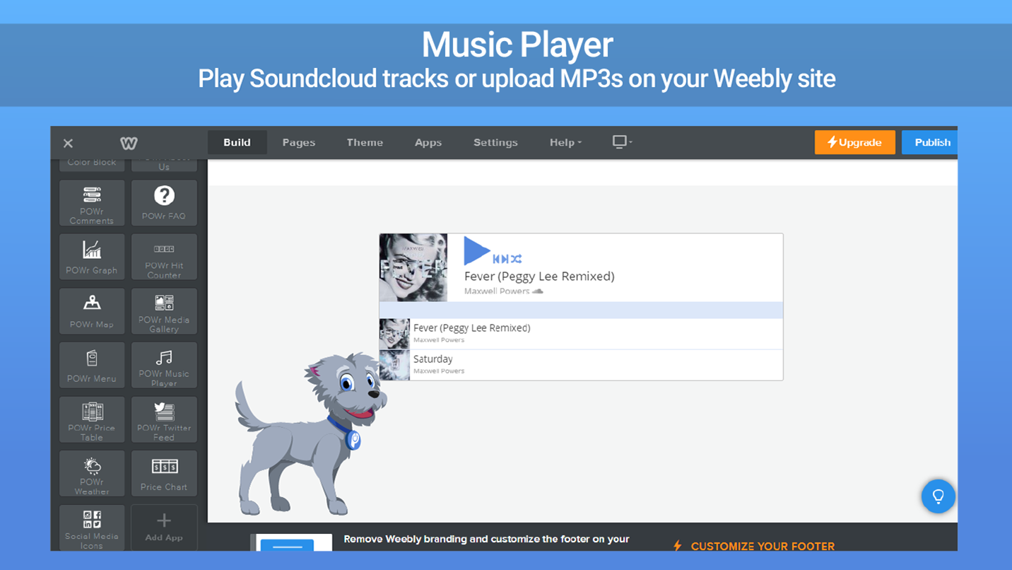 Music Player - Stream music on your Weebly site